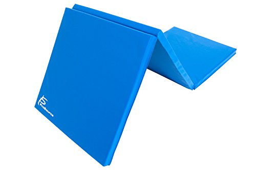 ProSource Tri-Fold Folding Thick Exercise Mat 6'x2' with Carrying Handles for MMA, Gymnastics Core Workouts, Blue