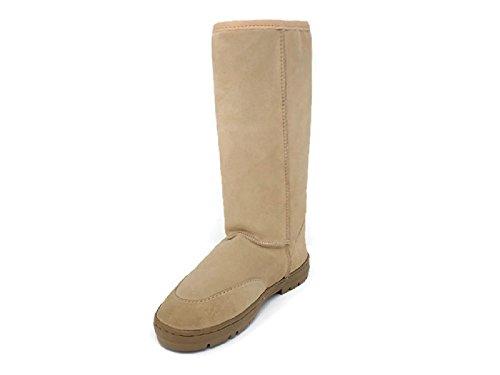 Women's Premium Suede Genuine Australian Shearling Sheepskin Boots Mid Calf Snow Booties (7)
