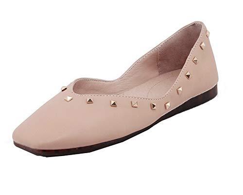 AgooLar GMMDB008374 Rosa Basso Chiusa Ballet Studded Punta Tacco Trafilatura Flats Donna rzwOaFvr