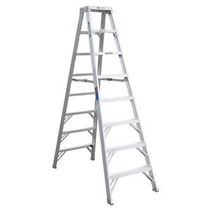 Double Sided Stepladder, Aluminum, 8 ft H, 300 lb Capacity (Werner 16 Ft Aluminum Multi Position Ladder)