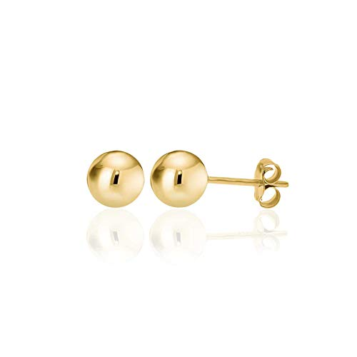 14K Yellow Gold Filled Round Ball Stud Earrings Pushback 7mm ()