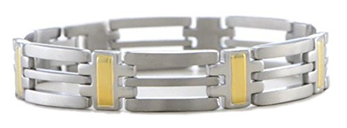 Men's Gold IP and Titanium 11mm Titanium Bracelet, 8.5'' by The Men's Jewelry Store