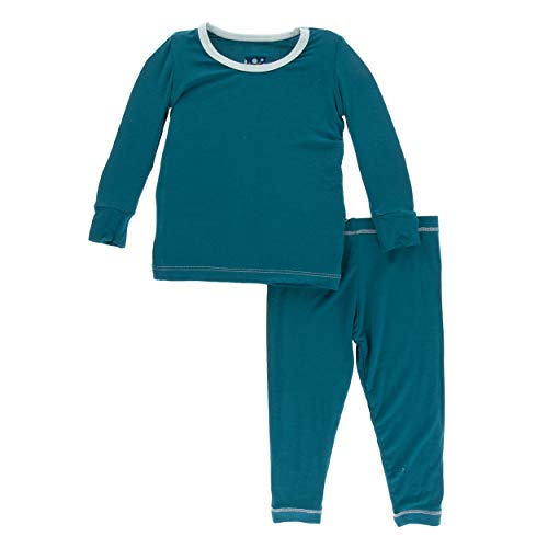 Kickee Pants Little Boys Solid Long Sleeve Pajama Set - Heritage Blue with Spring Sky, ()