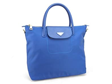 Prada BN2107 Tessuto Nylon and Saffiano Bright Blue Handbag ...
