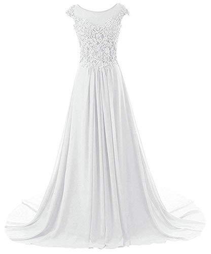 Chiffon Festkleider Lang A Brautjungfernkleider Ballkleid Damen Abendkleider Weiß Linie qPUBtHw