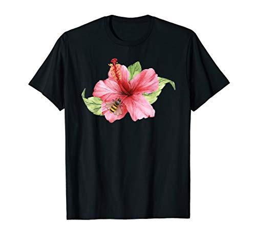 Yellow Hibiscus Flower And Bee Beautiful Art Tshirt
