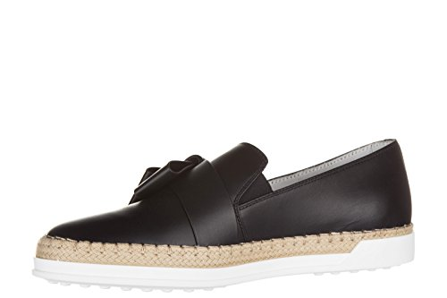 Tod's slip on donna in pelle sneakers nuove originali gomma rafia fiocco nero