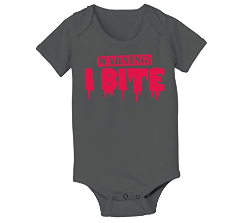 [Warning I Bite Funny Vampires Zombies Monsters Teething Kid Infant Baby Bodysuit] (Vampire Suit)