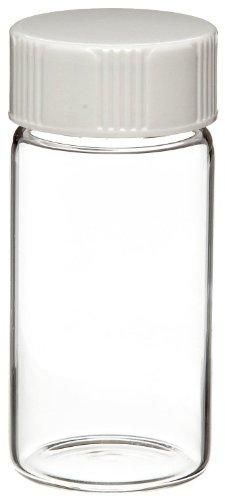Wheaton 986568 Borosilicate Glass 20mL Liquid Scintillation Vial, with 24-400 White Urea Polyethylene Disc Lined Screw Cap (Polyethylene Lined Cap)