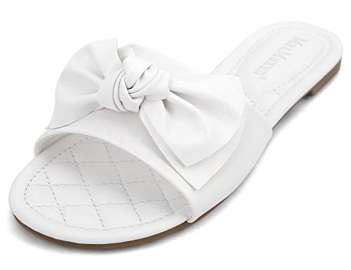 MaxMuxun Women's Bow Tie Slip On Flat Slide Sandals White Size 6