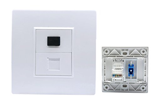 Cerrxian SC UPC Singlemode Fiber Optic & Toolless RJ45 Cat5e Keystone Jack Ethernet Internet Network Wall Face Plate(SR)
