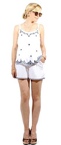 Damen Hippie Shorty Set Zweiteiler Ibiza Style Träger-Top Shorts weiß