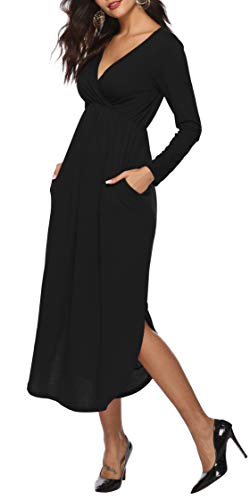 Sarin Mathews Womens Dresses V Neck Long Sleeve Side Slit Casual Party Long Maxi Dress with Pockets Black L