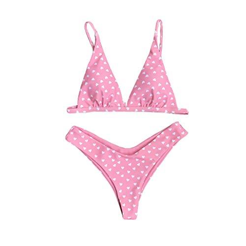 BBesty Women's Love Printing Set Push-Up Padded Bra Beach Bikini Set Swimsuit Swimwear for Summer Beach Pink