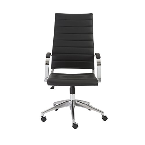 Euro Style Axel High Back Soft Leatherette Adjustable Office Chair with Chromed Steel Frame, Black