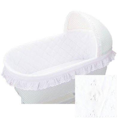 BabyDoll Bedding Bassinet Bumper, Ruffle, White by BabyDoll Bedding