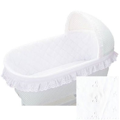 Baby Doll Bassinet Bumper, Ruffle, White by Baby Doll