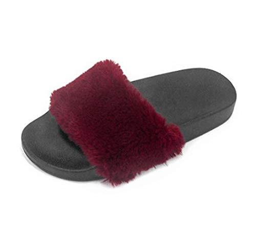 D'intérieur Rouge Antidérapantes Chambre Bout Des Vin Peluche Mode Femmes extérieur De Pantoufles Ouvert w817aHAq