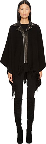 The Kooples Women's Poncho with Leather Neck Black One Size by The Kooples