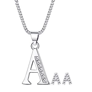 JOERICA 26 Initial Letters Stud Earrings Necklace Jewelry Set for Women Girls CZ Alphabet A-Z