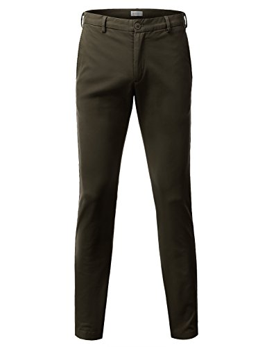 Doublju Mens Slim Fit Cotton Twill Flat Front Chino Pants BROWN