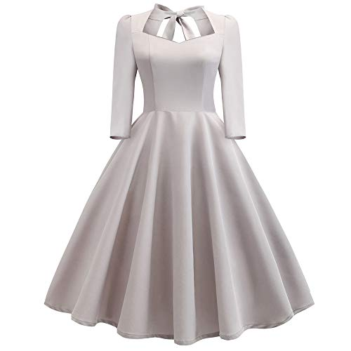 HTDBKDBK Stylish Women and Elegant Retro V-Neck Hollow-Out Bow Draped Holiday Vintage Dress Back Bow in for $<!--$11.19-->