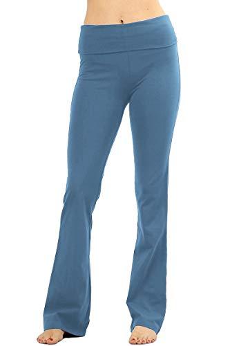 Fold Over Fitness Pant - NioBe Clothing Stretchy Fold Over Lounge Solid Flare Yoga Pants (X-Large, Titanium)
