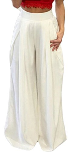Ruched Wide Leg Gaucho (XiaoTianXin-women clothes XTX Womens Summer High Waisted Loose Fit Ruched Wide Leg Palazzo Pants White XS)