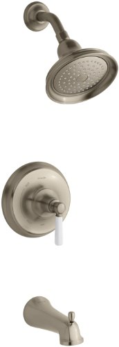 KOHLER K-T10581-4P-BV Bancroft Rite-Temp Pressure-Balancing Bath and Shower Faucet Trim with Diverter Spout and White Ceramic Lever Handle, Valve Not Included, Vibrant Brushed Bronze