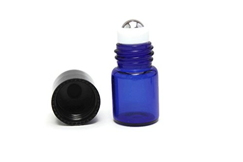 72-2ml COBALT BLUE Glass Vial/Bottle Micro Roller (72) w/Stainless Steel Roller Inserts and Flat Black Screw Caps - Pack of 72 ()
