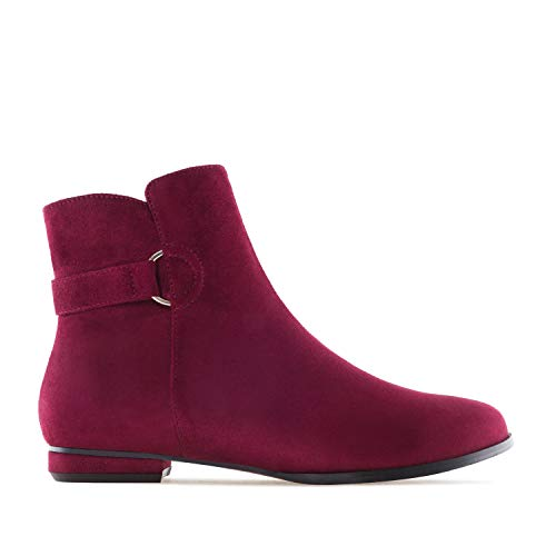AM4101 Suede Sizes in Booties Suede Large Flat Burgundy Machado Andres wCvqnO