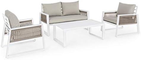 Bizzotto - Juego de Muebles de jardín para Exterior, de Aluminio, Color Blanco: Amazon.es: Jardín
