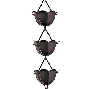 Lotus shaped, black rain chain