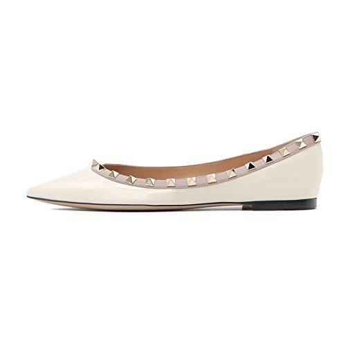 White Rivets Slip Flat Heels Caitlin Casual On Pointed Pan Gladiator Studded Flats Toe Women wHqzq4vO