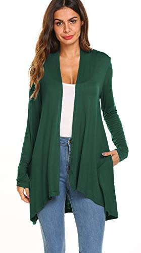 Front Cardigan Pocket - Women's Casual Long sleeve Open Front Lightweight Drape Cardigans With Pockets (US XXL(20-22), Green)