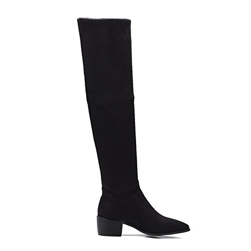 AllhqFashion Womens Kitten-Heels Solid Pointed Closed Toe Frosted Pull-On Boots Black nC9sq6FCn