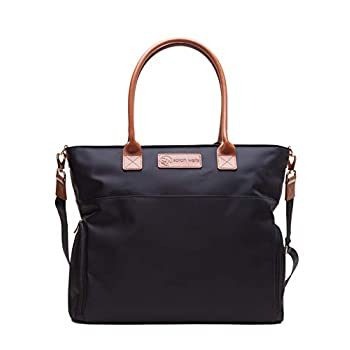 Image of Sarah Wells Abby Breast Pump Bag with Real Leather Straps (Black) Baby