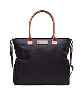 Sarah Wells Abby Breast Pump Bag with Real Leather Straps (Black)