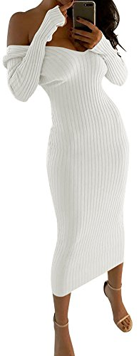 D-Sun Womens Solid Off Shoulder Long Sleeve Bodycon Sweater Dress Ribbed Romper (White, M)
