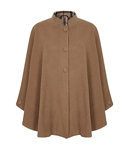 Oxfords Cashmere Tartan Trim Cape (Camel Thomson Style2)