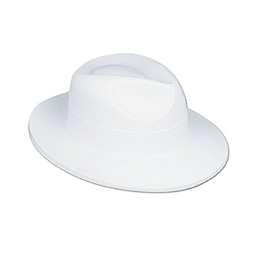 Club Pack of 24 Roaring 20's White Velour Fedora Novelty Hat -