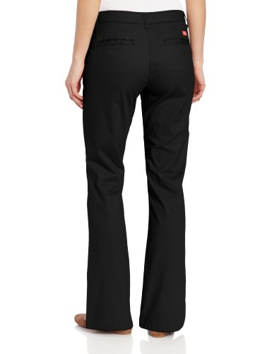 Dickies Women's Flat Front Stretch Twill Pant, Black, 16 Tall
