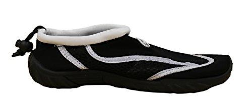 Rockin Chaussures Femmes Aqua Stripes Aqua Chaussettes Chaussures Deau Blanc