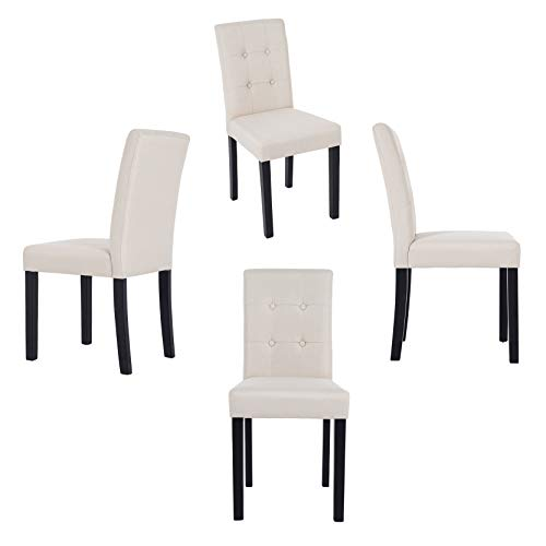 (GOTMINSI Parsons Dining Chairs with Solid Natural Wood Legs Button-Tufted Chairs Set of 4(Beige))