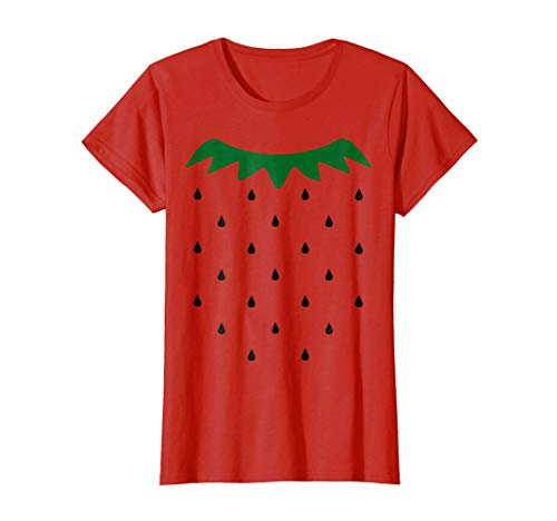 Womens Strawberry Halloween Costume Simple Black Seeds T-shirt Medium Red