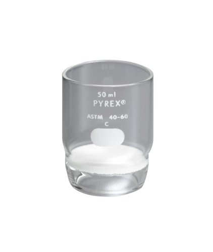 Corning Pyrex Borosilicate Glass High Form Gooch Crucible with 30mm Diameter Medium Porosity Fritted Disc, 50mL Capacity (Case of 9) by Pyrex