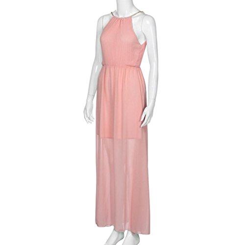 reputable site f6609 8ee11 Maniche Elegante Uomogo® Abito Rosa Lungo V A Donna Elegante ...