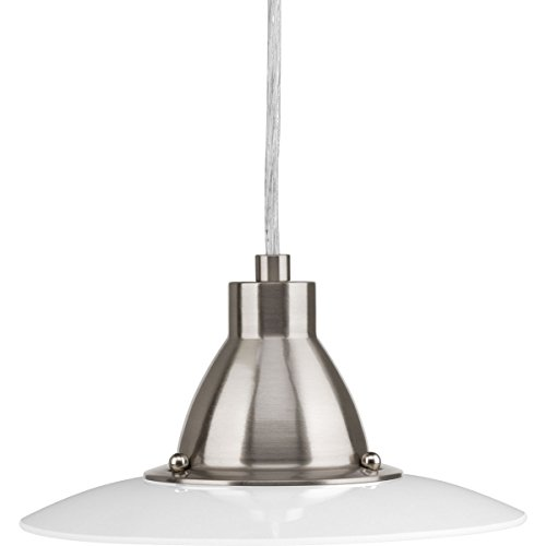 Progress Lighting P5072-0930K9 1-9W LED 3000K Mini-Pendant, Brushed Nickel - Sandblasted Pendant Lamp