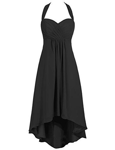 Sweetheart Dos Nu En Mousseline De Soie Femmes Cdress Haut Robes Bas De Demoiselle D'honneur Robes De Bal Du Parti Noir