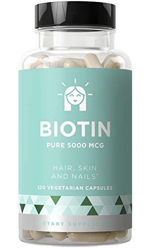BIOTIN 5000 mcg - Healthier Hair Growth, Stronger Nails, Glowing Skin - 120 Vegetarian Soft Capsules